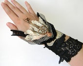 Lace Wrap Bracelet, Lace Cuff Wrist Wraps, Victorian Gothic Cuff Arm Band, Black Wrist Cuff with Hand Painted Leather and Tassel, Goth Cuff