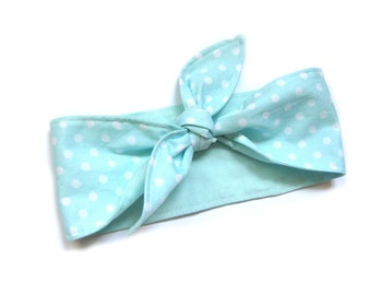 Rockabilly Head band head scarf mint Polka dots retro 50s