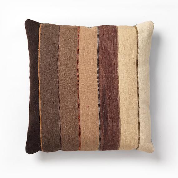 modern kilim floor pillow horizon tan