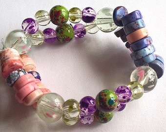 Small Wrist, Teen, or Preteen Stretchy Bracelet: Dyed Howlite, Purple Splashed Glass Beads, Green, Pink, Blue