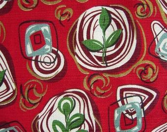 "Mid Century Modern Barkcloth Atomic Abstract Bark Cloth 1 Yd x 35"" Cotton Vintage Eames Geometric Bright Unused"