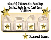 """Personalized Gold Star Birthday Party Favor Bags Gold Stars Black Treat Gift Bags Mini 6"""" White Canvas Totes Kids Party Bags Set of 4"""