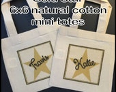 """Personalized Gold Star Birthday Party Favor Bags Gold Stars Black Treat Gift Bags Mini 6x6"""" Natural Cotton Totes Kids Party Bags - Set of 4"""