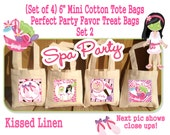 """Spa Party Treat Favor Gift Bags Mini 6""""x6"""" Natural Cotton Totes Children Kids Girls Birthday Party Baby Bridal Shower Set of 4 or 8"""