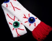 Spooky Eyeball Scarf - White Crochet Scarf with Red Tassels and Custom Colour Eye Applique and Rhinestone Detail - Psychobilly Winter Scarf