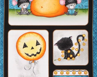 Charmed Panel with Black cat, Pumpkin, Mice, Ghost by Quilting Treasures