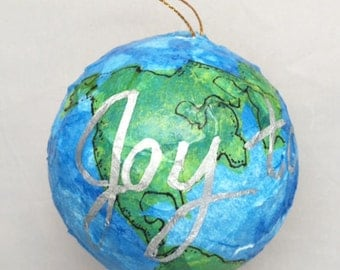 Unique world globe ornament related items | Etsy