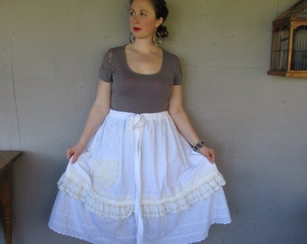 upcycled lace skirt petticoat Lagenlook clothing Bohemian prairie Country romantic Large X Large 1 X 2 X Eco  farm girl LillieNoraDryGoods