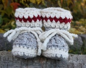 Work Sock Grey BABY Toddler Child Crochet SHEEPSKIN Booties and Crochet Sheepskin Slippers with Leather Suede and Sheepskin Shearling Sole