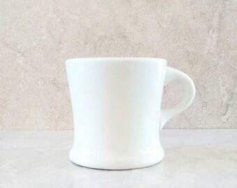 White Coffee Mug Hotel Ware Restaurant China Vitreous Double Thick Walled Baltimore Shape Homer Laughlin Antique Shaving Mug 1911