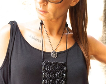 NEW Collection Black Extravagant Leather Extra Long Macrame Necklace with Wooden Beads  by AAKASHA A16315