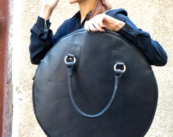 NEW  Black Genuine Leather Bag / High Quality  Tote Circle Large Bag / zipper close up /  Unique Bag by AAKASHA A14318