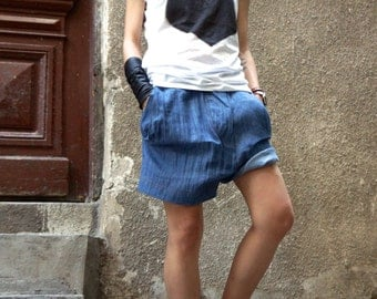 New Denim Loose Light Casual  Drop Crotch Shorts  / Extravagant Sexy Soft  Pants / Large Asymmetrical Pockets by AAKASHA A05421
