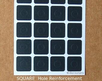 SQUARE Hole Reinforcement Stickers, 40 pcs, PVC-Free