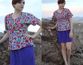 Vintage 80s Peplum Dress - Purple Floral Dress - Short Gathered Wrap Dress - Dolman Short Sleeve Mini Dress - Red Floral Dress - Size Medium