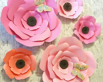 Pink & Peach Paper Flowers, Nursery Decor, Giant Paper Flowers, Graduation Backdrop, Baby Shower Decor, Sweet 16, Photo Booth, Photo Prop