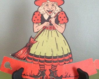 Vintage Halloween Beistle 1950s Witch Stand Up Retro Halloween Decor Die Cut Display Old Collectible