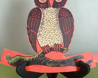 Vintage Halloween Beistle 1950s Winking Wise Owl Old Halloween Decor Die Cut Stand Up Collectible