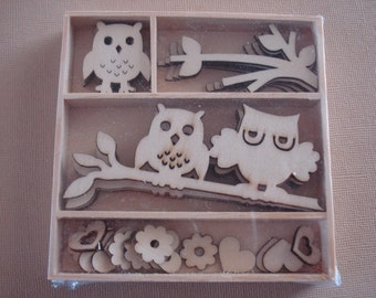Owl Wood Die Cuts - Laser Cut Out Shapes - Unfinished Embellishments - Birds - Branch - Flowers - Wooden Box - 30 pcs