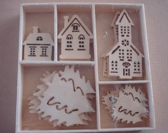 Wood Die Cuts - Laser Cut - Home for Christmas- Embellishments - Wooden Box - 25 pcs