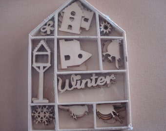 Wood Die Cuts - Laser Cut - Winter birds and houses- Embellishments - Wooden Box - 50 pcs