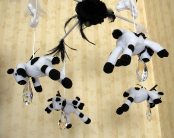 READY Mobile Cow And Moon Nursey Crib Mobile READY for Purchase