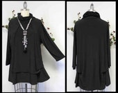 New Travelers Turtle neck Plus size top, lagenlook top, Designer tunic with details, L to 4XL