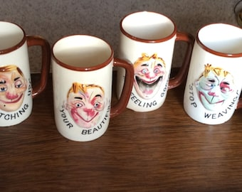 Drunk Mug Set Man Cave Barware Humor 6 Mugs