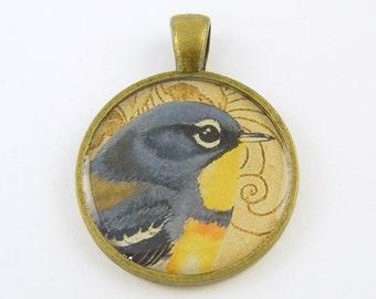 Bird Pendant - Blue Yellow Bird Pendant Antique Brass Nature Collage Resin Pendant Jewelry Charm