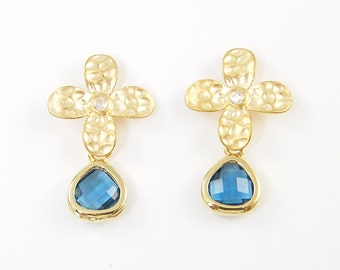 Blue Zircon Teardrop Earrings Small Rhinestone Gold Flower Drop Earrings |BJ2-9