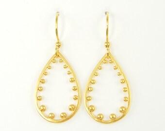 Granulation Earrings, Simple Gold Teardrop Earrings, Beaded Gold Teardrop Earrings, Teardrop Hoop Earrings Matte Gold Dangle Earrings |NG1-2