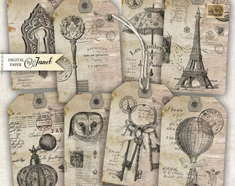 Antique Tags - digital collage sheet - set of 8 - Printable Download