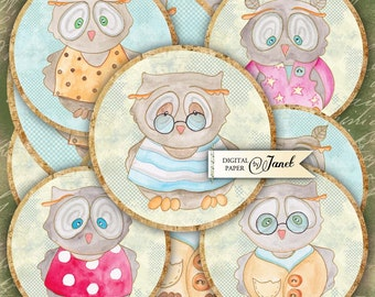 Mr Owl - 2.5 inch circles - set of 12 - digital collage sheet - pocket mirrors, tags, scrapbooking, cupcake toppers