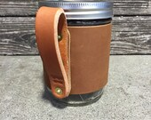 16oz Leather Wanderer Travel Mug in Caramel with Bridle Handle // Gift for Men or Women
