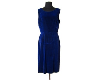 1960s Sleeveless Blue Velvet Shift Dress - Medium