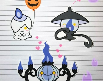 Litwick/Lampent/Chandelure Stickers and Magnets