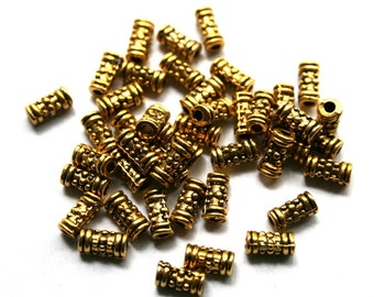 7 mm Gold Decorative Cylinder Spacer Beads