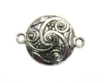 5 Antique Silver Swirled Design Connectors/Charms/Pendants