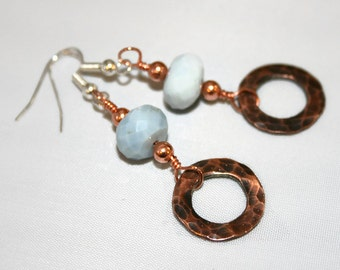 Blue Opal, Rustic Hammered Copper, Artisan Drop Earrings, Copper Jewellery