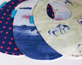 Organic Bib Set in Coastal Colours from the Wanderlust Collection
