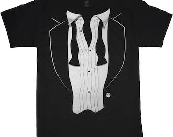 Big and tall tuxedo t-shirt - black tux tee shirt