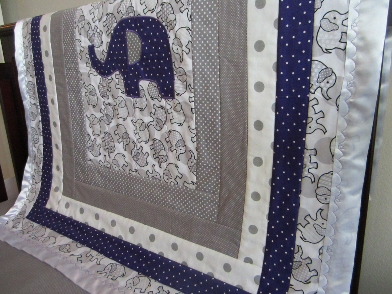 Elephant Crib Quilt Gray And Purple With A Satin Border And