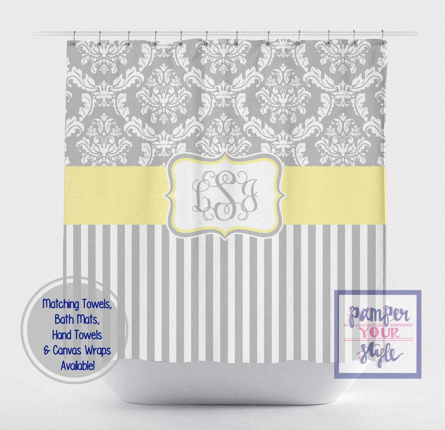 Damask And Stripe Gray And Yellow Shower Curtain Any Color