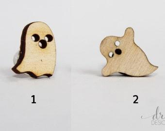 Laser Cut Wood Halloween Ghost Earrings - Lasercut Ghost Stud Earrings - Halloween Earrings - Halloween Jewelry - Halloween Jewellry