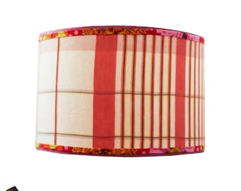 Red Drum Lamp Shade with Vintage Fabric: Red Lamp Shades, Vintage Lamp Shades, Drum Lamp Shades, Designer Lamp Shades