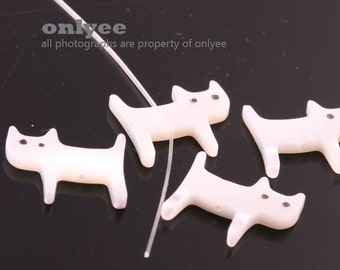 6pcs-14mmX12mm Hand Carved White Mother of Pearl Cat Beads(A474)