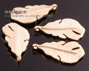 4pcs-19mmX9.5mm Matt Gold plated over Brass Nature small leaf Charm/pendant(K878G)
