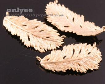 2pcs-24mmX12.5mm Matt Gold plated over Brass Nature delicate leaf,Feather Connector(K881G)
