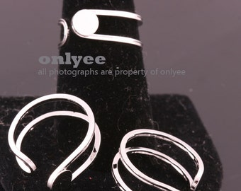2PCS-7mmBright Rhodium Plated Brass Adjustable RING Blank Base For Side Deco pad Ring (E359S)