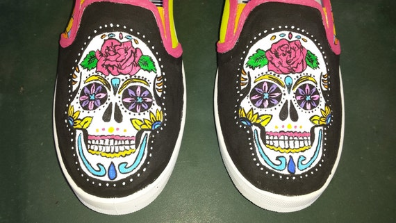 Sugar Skulls Hand Painted Canvas Shoes custom order your size